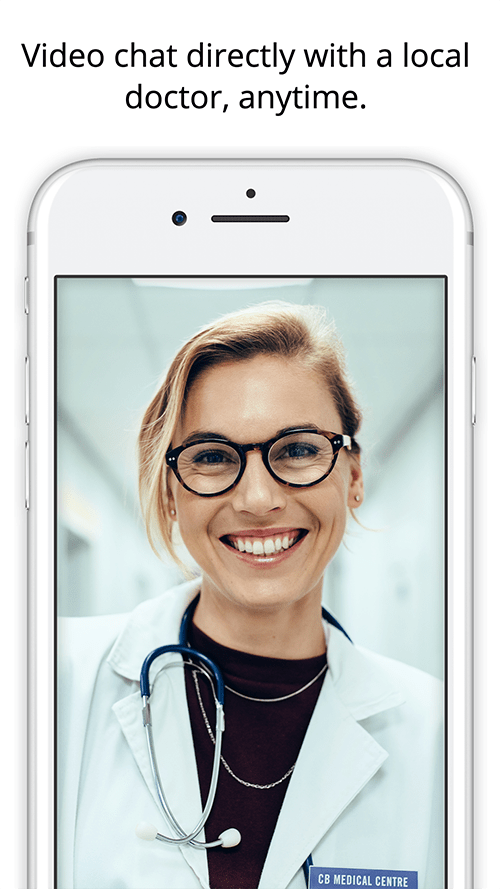 Doctor on phone video chat
